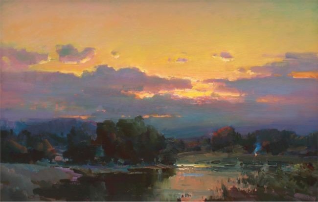Ovanes Berberian Painting Late Evening Oil on Canvas