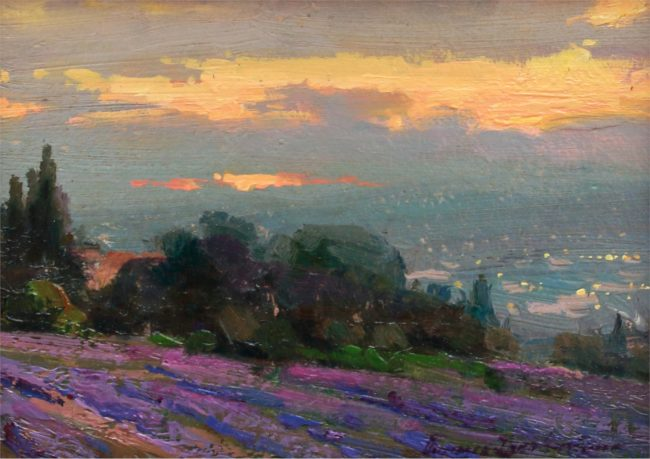 Ovanes Berberian Painting Late Evening in Provence Oil on Canvas