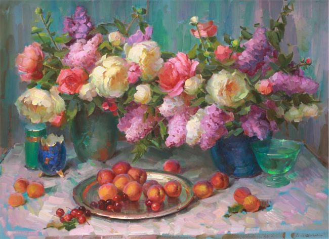 Ovanes Berberian Painting Still Life with Flowers and Peaches Oil on Canvas