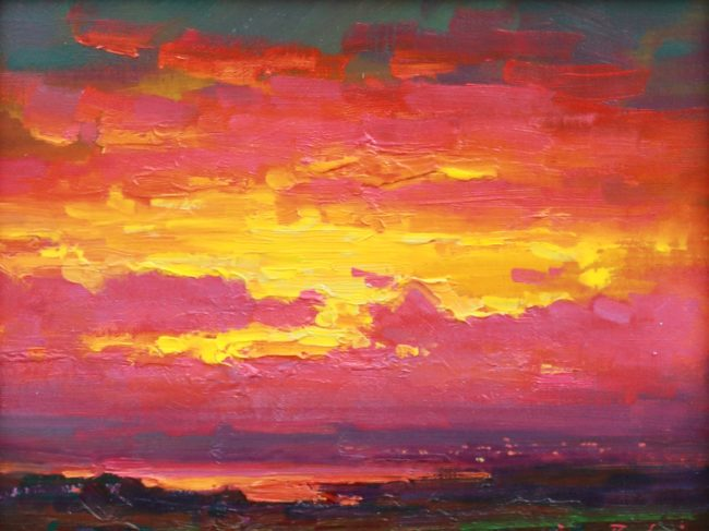 Ovanes Berberian Painting Sunset Glow Oil on Canvas