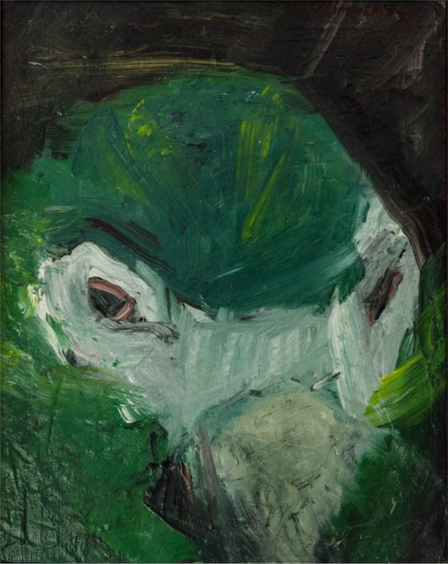 Rita Zimmerman Painting Green Parrot Oil on Linen