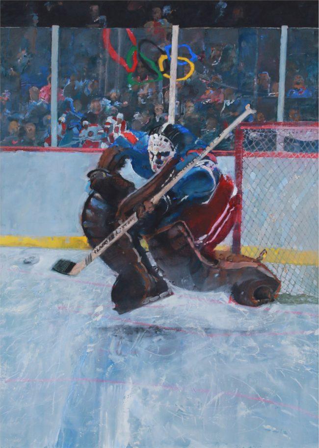 Robert Heindel Painting Hockey Oil on Canvas