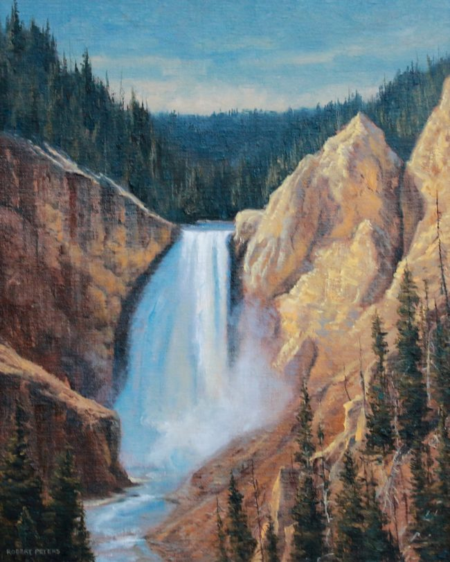 Robert Peters Painting Lower Falls of the Yellowstone Oil on Linen