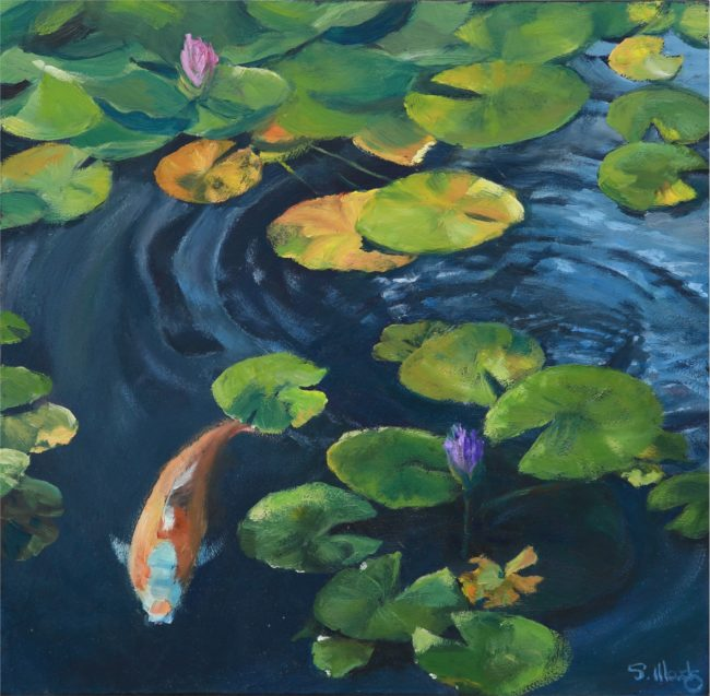 Sarah Woods Painting Don't Be Koi Oil on Board