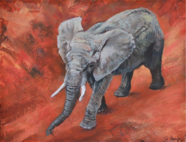 Sarah Woods Painting Elephant Stride Oil on Canvas