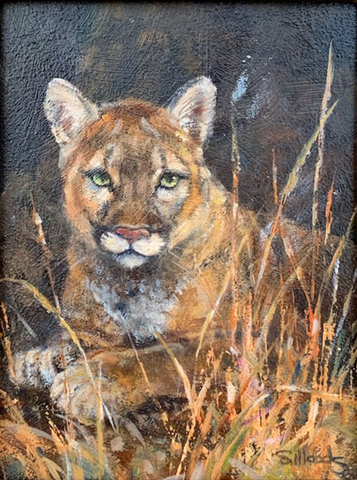Sarah Woods Painting Wild Portrait Oil on Board