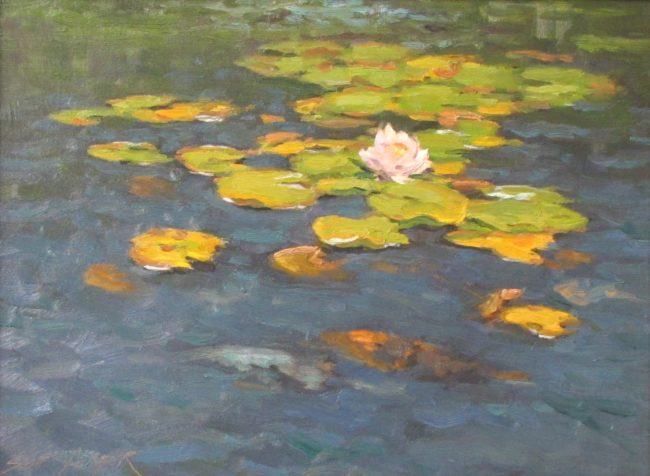 Scott Yeager Painting Broadmoor Lilies Oil on Board