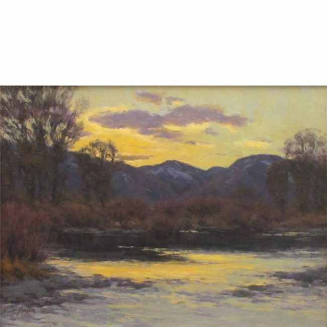 Scott Yeager Painting Platte River Sunset Oil on Board
