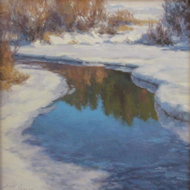 Scott Yeager Painting Teal Pond Oil on Board