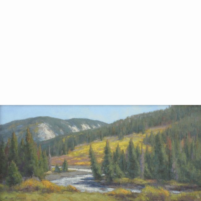 Scott Yeager Painting The River in Autumn Oil on Board