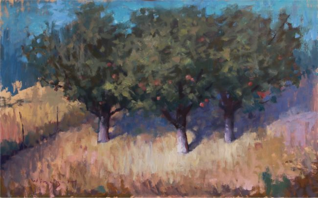 Seth Winegar Painting Fruit Trees Oil on Panel