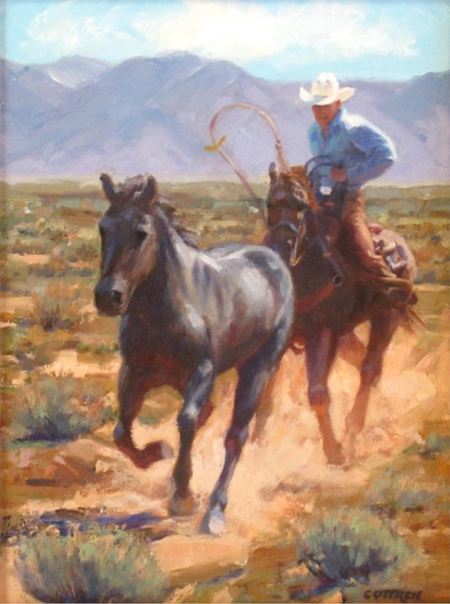 Sheila Cottrell Painting Pursuit Oil on Board