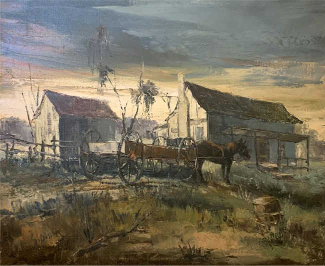 Stanley Sobossek Painting Southern Cabin Oil on Canvas