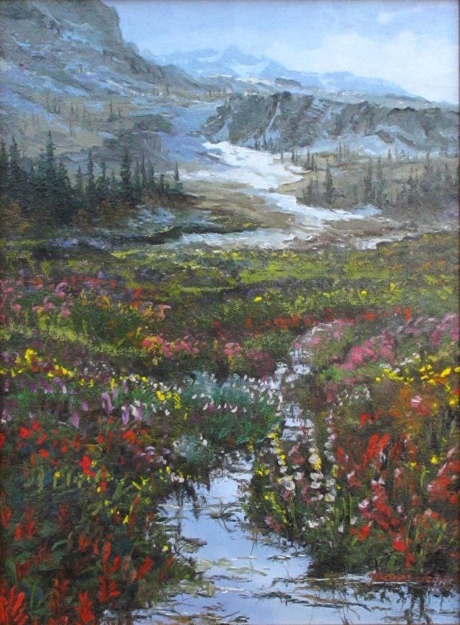 Thomas DeDecker Painting The Rockies and Its Wildflowers Oil on Canvas