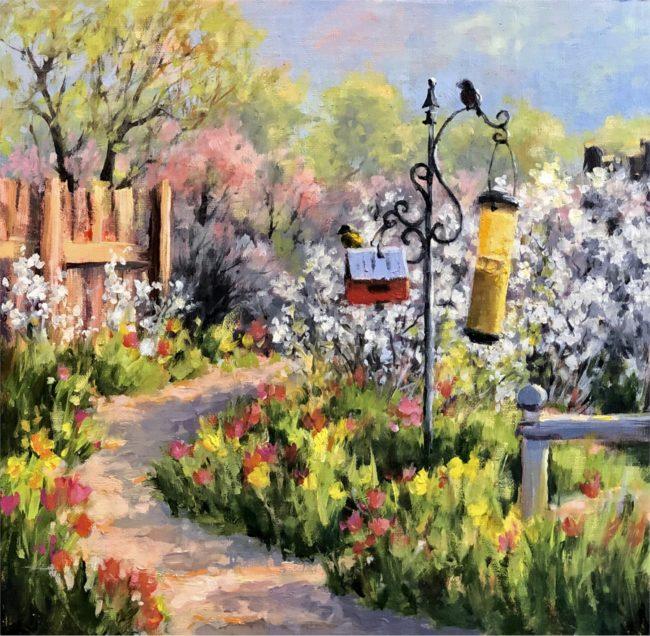 Cheryl St. John Painting Spring Explodes Oil on Panel