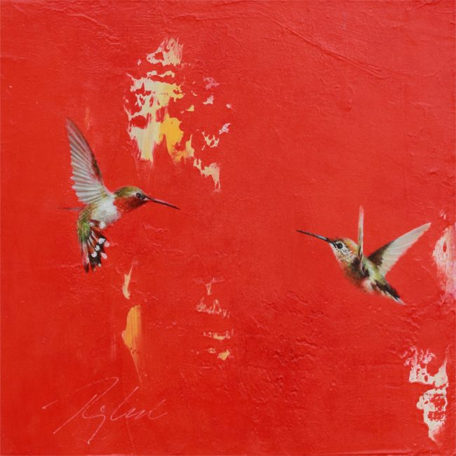 Greg Ragland Painting Broadtails in Red Acrylic on Panel