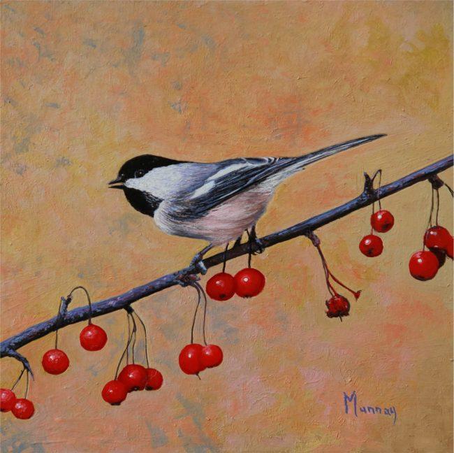 Karla Murray Painting Berries at Sunrise Chickadee Oil on Board