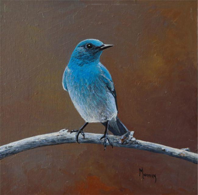 Karla Murray Painting Cinnamon Sky - Mountain Blue Bird Oil on Board