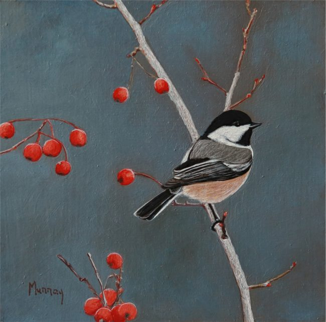 Karla Murray Painting Winter Berries Chickadee Oil on Board