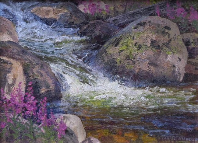 Lanny Grant Painting Fireweed Oil on Board
