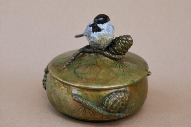 Melissa Cooper Sculpture Chickadee Box Bronze