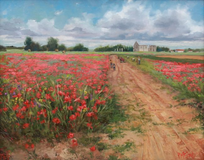 Patricia McGeeney Painting May Poppy Fields Oil on Panel