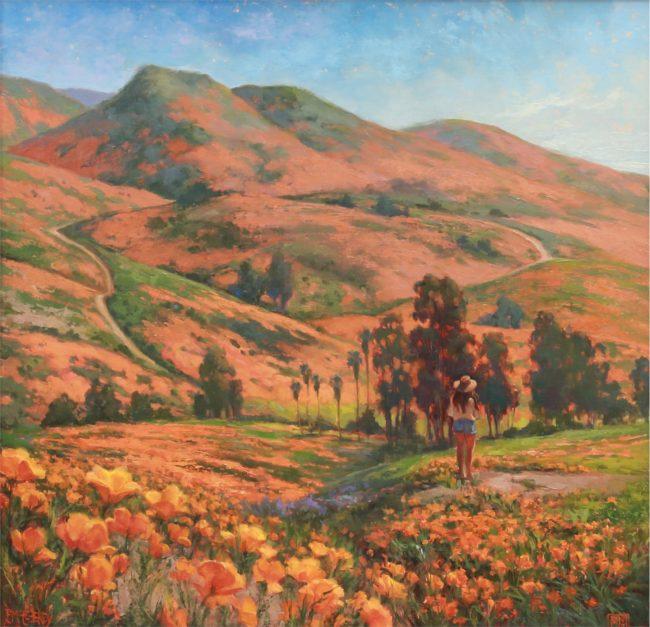 Patricia McGeeney Painting Super Orange Sunshine Oil on Panel