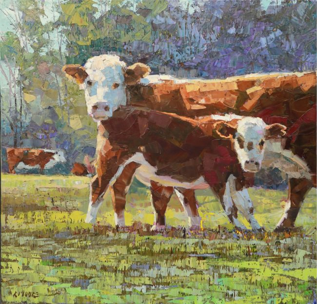 Robert Moore Painting Cow & Calf Oil on Canvas