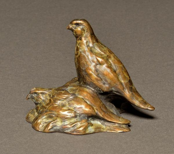 Stefan Savides Sculpture Quail Pair Mini Bronze