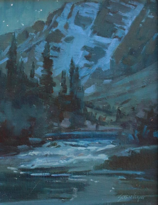 Susie Hyer Painting Maroon Lake Nocturne Oil on Linen