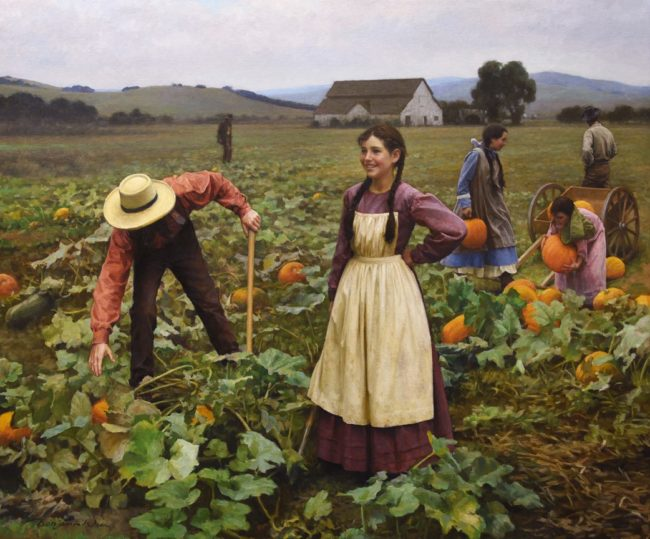 Benjamin Wu Painting Pumpkin Field Oil on Canvas