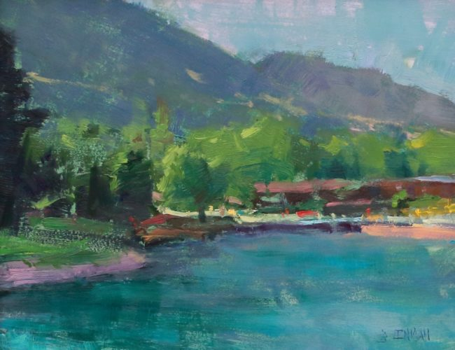Bill Inman Painting Lakeside View Oil on Board