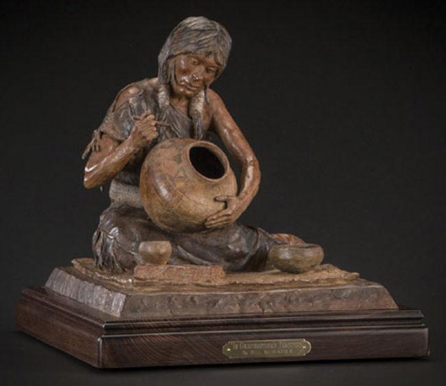 Bill Nebeker CA Sculpture In Grandmother's Tradition Bronze