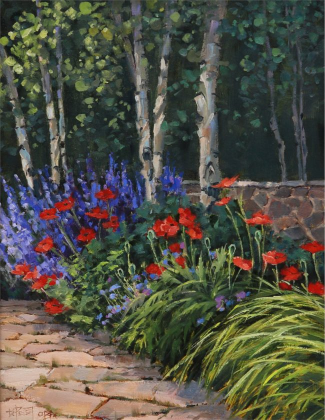 Darcie Peet Painting Catmint And Poppies Oil on Linen