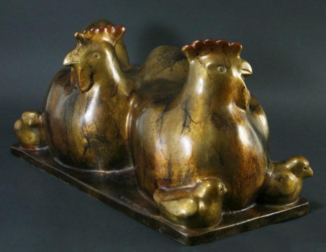Doug Hyde Sculpture Chicken Hen Bronze