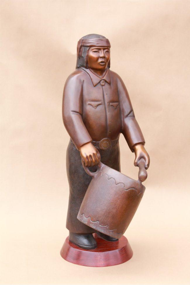 Doug Hyde Sculpture Cochiti Drummer Bronze