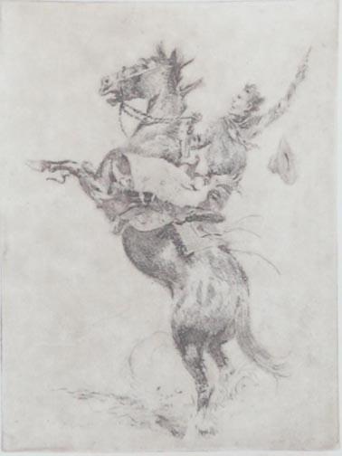 Edward Borein Printmaking Rearing Back Etching