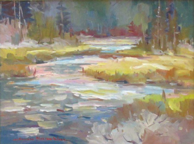 Edward Ward Painting Stream Scene Oil on Canvas