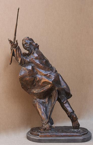Fritz White CA Sculpture Buffalo Bill Meets Yellow Hand Bronze