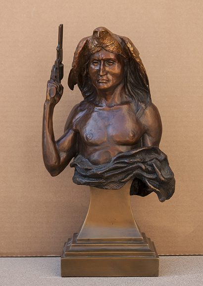 Fritz White CA Sculpture Curly and Hawk Bronze