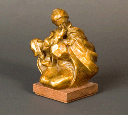Fritz White CA Sculpture Grandmother's Kiss Bronze