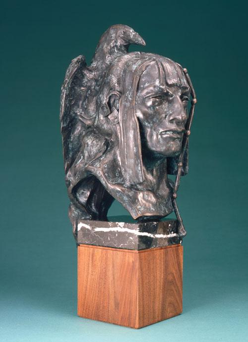 Fritz White CA Sculpture Man of the Ravens Bronze