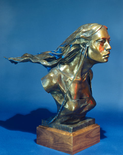 Fritz White CA Sculpture Maricopa Woman Bronze