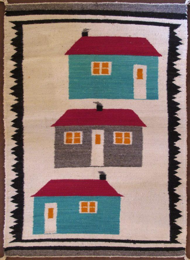 Navajo Weaving Textiles 3 Houses Weaving