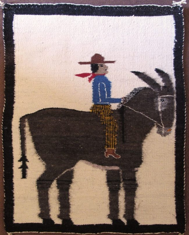 Navajo Weaving Textiles Donkey and Rider Weaving