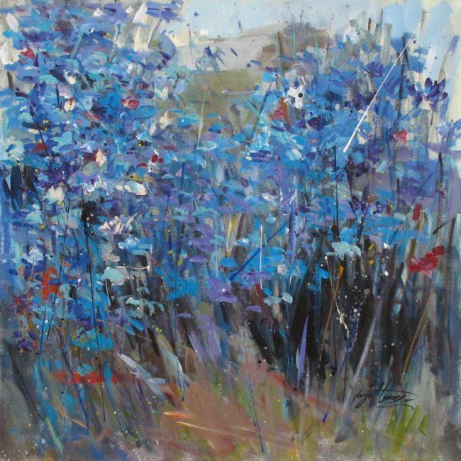Nazar Harran Painting Wildflowers in Blue Acrylic on Canvas