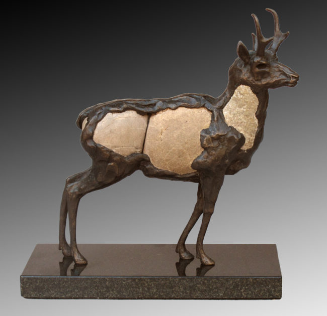Pete Zaluzec Sculpture Pronghorn Mixed Media