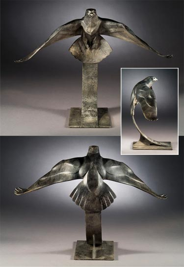 Rosetta Sculpture Falcon Bronze
