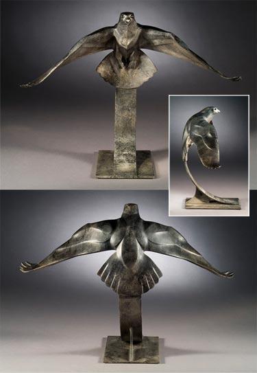 Rosetta Sculpture Falcon Bronze