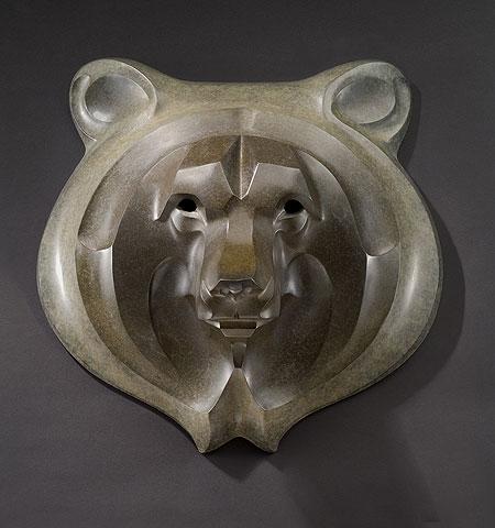 Rosetta Sculpture Grizzly Mask Maquette Bronze